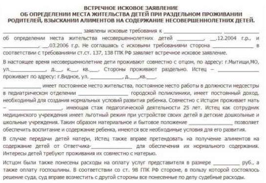 Встречный иск на алименты: образец встречного искового заявления о взыскании алиментов